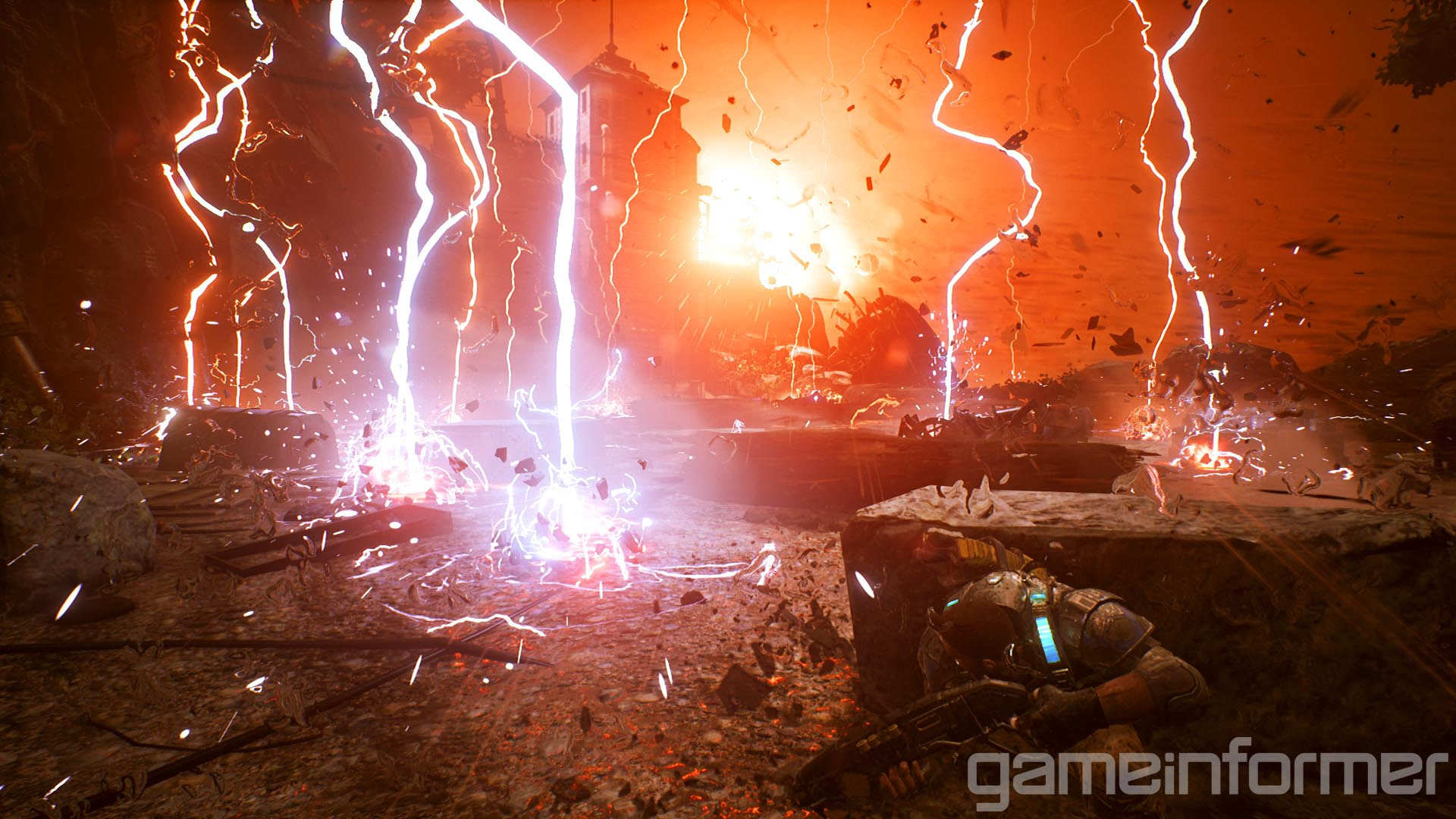 'Windflares' are a serious environmental threat. Lightning strikes around you as the wind picks up pretty drastically. You'll have to dodge, duck, dip, dive and dodge your way through these 'mini-boss' sections as they've been dubbed by Gears of War 4 Head Honcho Rod Fergusson.