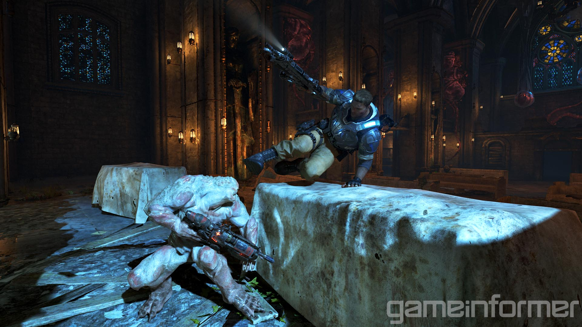Introduced in Gears of War 3, you could vault over cover and give the locust a damn good kick to the face. Looks like they'll be bringing it back along with a few new addition perhaps?