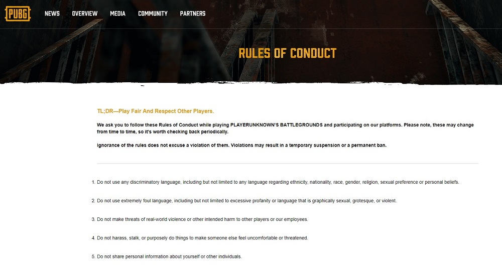 PUBG Rules of Conduct