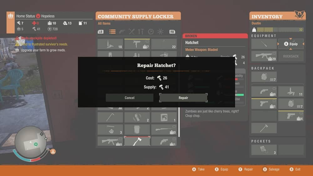 how to repair weapons in state of decay 2